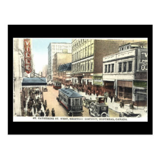Vieille carte postale, Montréal, rue de St