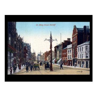 Vieille carte postale, rue de Cardiff, St Mary