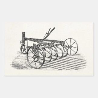 Vieille charrue vintage d'agriculture d'équipement sticker rectangulaire