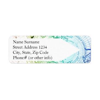 Vieille conception de cartes d'arc-en-ciel vintage étiquette d'adresse retour