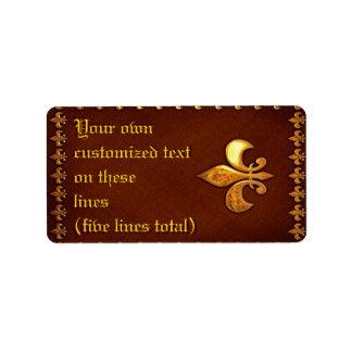 Vieille couverture en cuir avec Fleur-De-Lys d'or  Étiquettes D'adresse
