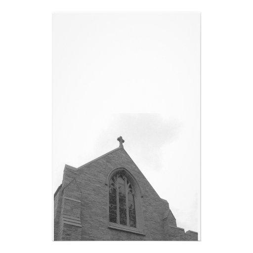 Vieille église stationnaire papier à lettre customisé