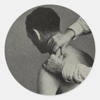 Vieille photo vintage personnalisable de massage sticker rond