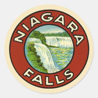 Vieilles chutes du Niagara de voyage vintage Sticker Rond