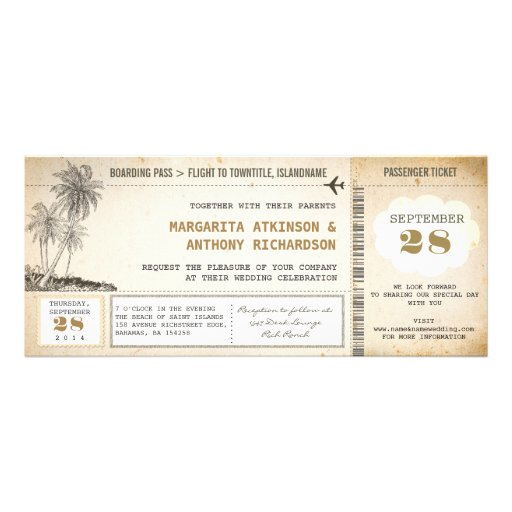 vieilles invitations de mariage de vol de carte d'