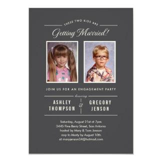 Vieilles invitations de partie de fiançailles de carton d'invitation  12,7 cm x 17,78 cm