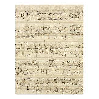 Vieilles notes de musique - feuille de musique Cho Carte Postale