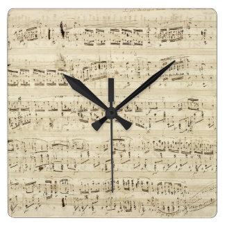 Vieilles notes de musique - feuille de musique Cho Horloge Carrée