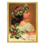 Vieilles vacances de Noël de fille de houx de mode Carte Postale