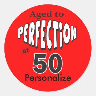 Vieillissez à la perfection au cinquantième sticker rond