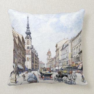 Vienna Austria 1900s Downtown Bicycle Throw Pillow
