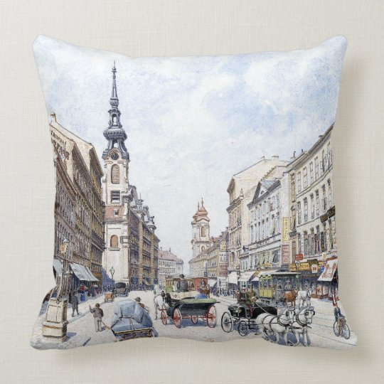 Vienna Austria 1900s Downtown Bicycle Throw Pillow
