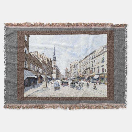 Vienna Austria Street Scene 1900s Throw Blanket