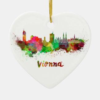 Vienna skyline in watercolor ceramic heart ornament