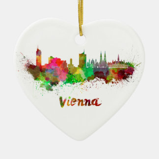 Vienna skyline in watercolor ceramic ornament
