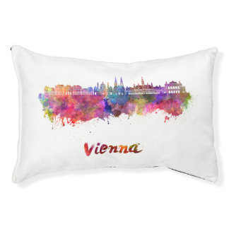 Vienna skyline in watercolor small dog bed