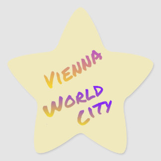 Vienna world city colorful letter art light yellow star sticker