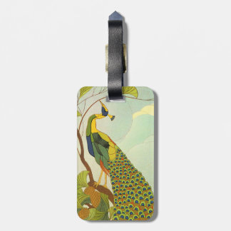 Viennese Art Nouveau Peacock Luggage Tag