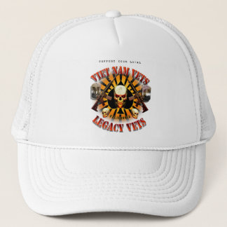 Viet Nam / Legacy Vets MC Support Had Skull Lobo Trucker Hat