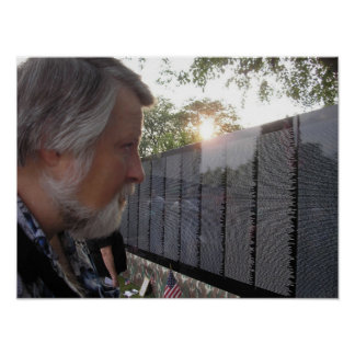 Viet Nam Veteran Visits the Traveling Wall Poster