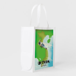 Vietnam by Air vacation print. Reusable Grocery Bag