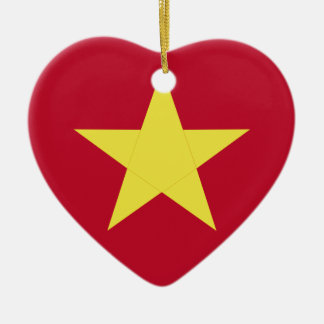 Vietnam flag ceramic heart ornament