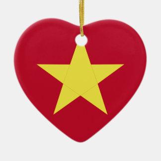 Vietnam flag ceramic heart ornament