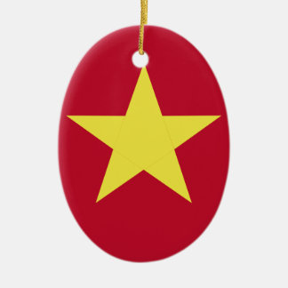 Vietnam flag ceramic oval ornament