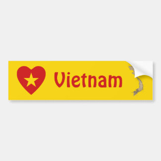 Vietnam Flag Heart + Map Bumper Sticker