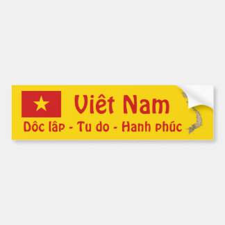 Vietnam Flag + Map Bumper Sticker