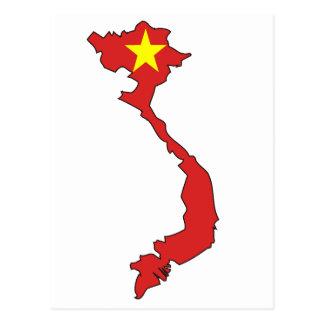 Vietnam flag map postcard