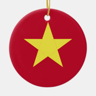 Vietnam flag round ceramic ornament