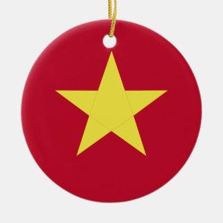 Vietnam flag round ceramic ornament
