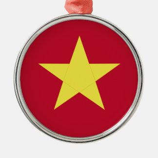 Vietnam flag Silver-Colored round ornament