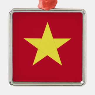 Vietnam flag Silver-Colored square ornament