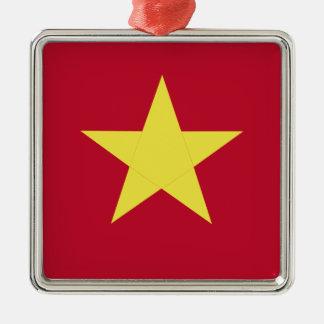 Vietnam flag Silver-Colored square ornament