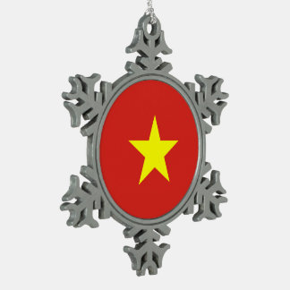Vietnam Flag Snowflake Pewter Christmas Ornament