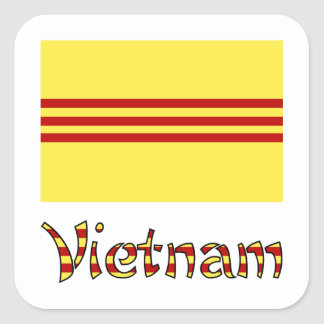 Vietnam Flag & Word Pre-1974 Square Sticker