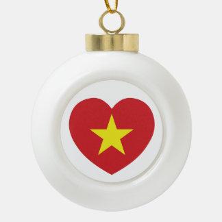 Vietnam Heart Flag Ceramic Ball Ornament
