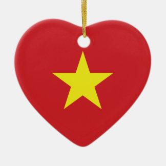 Vietnam Heart Flag Ceramic Heart Ornament