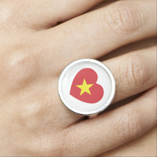 Vietnam Heart Flag Photo Ring