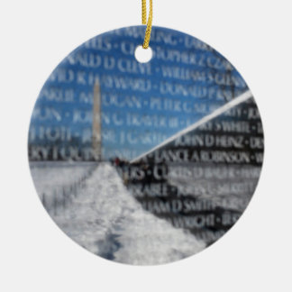Vietnam Memorial Wall during winter Ceramic Ornament