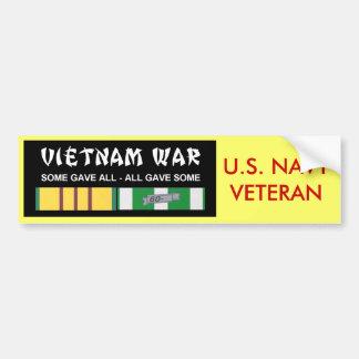 VIETNAM SERVICE RIBBONS - NAVY VET BUMPER STICKER