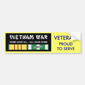 VIETNAM SERVICE RIBBONS - PROUD TO SERVE VET BUMPER STICKER