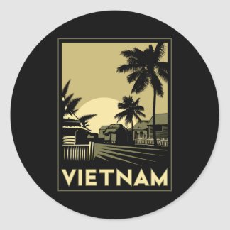 vietnam southeast asia art deco retro travel round sticker