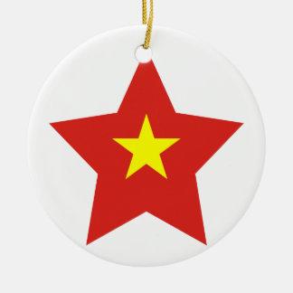 Vietnam Star Round Ceramic Ornament