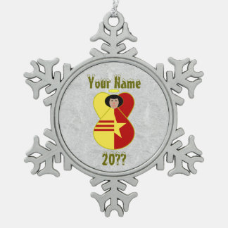 Vietnam Unity Angel Flag Pewter Snowflake Ornament