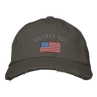 Vietnam Vet with American Flag Embroidered Hat
