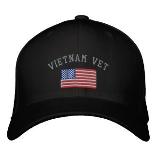 Vietnam Vet with American Flag Military Embroidered Baseball Cap