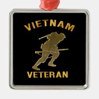 VIETNAM VETERAN SOLDIER IN GOLD Silver-Colored SQUARE ORNAMENT
